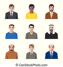 Vector design of avatar and face symbol. Collection of avatar and profile vector icon for stock.
