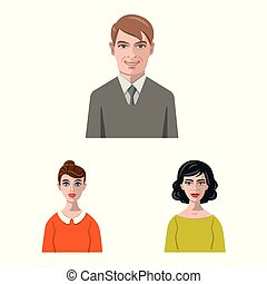 Vector design of avatar and face symbol. Set of avatar and profile vector icon for stock.