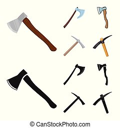 Vector design of ax and hammer symbol. Collection of ax and chopping stock vector illustration.