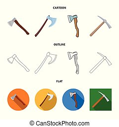 Vector design of ax and hammer symbol. Collection of ax and chopping vector icon for stock.