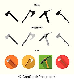Vector design of ax and hammer symbol. Set of ax and chopping stock vector illustration.