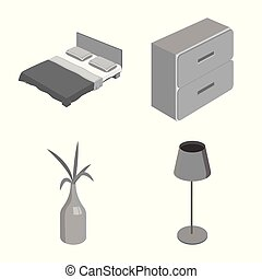 Vector design of bedroom and room symbol. Set of bedroom and furniture stock vector illustration.