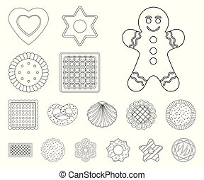 Vector design of biscuit and bake symbol. Set of biscuit and chocolate stock symbol for web.