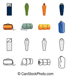 Vector design of blanket and camping sign. Set of blanket and equipment vector icon for stock.
