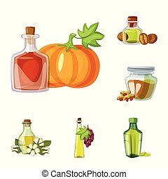 Vector design of bottle and glass symbol. Collection of...
