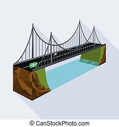 Vector design of bridge and rock symbol. Collection of bridge and brick vector icon for stock.
