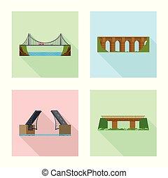 Vector design of bridgework and bridge sign. Set of bridgework and landmark stock symbol for web.