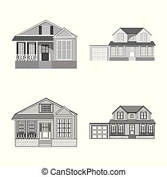 Vector design of building and front icon. Set of building and roof stock symbol for web.
