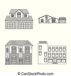 Vector design of building and front logo. Collection of building and roof vector icon for stock.