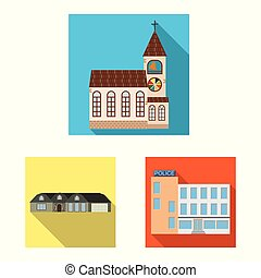 Vector design of building and front symbol. Set of building and roof vector icon for stock.