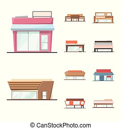 Vector design of building and supermarket icon. Collection of building and market stock vector illustration.