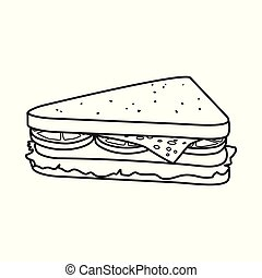 Vector illustration of burger and hoagie icon. Graphic of burger and triangle stock symbol for web.
