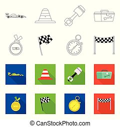 Vector design of car and rally logo. Collection of car and race vector icon for stock.