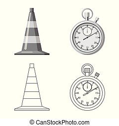 Vector design of car and rally sign. Set of car and race vector icon for stock.