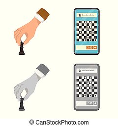 Vector design of checkmate and thin icon. Collection of...