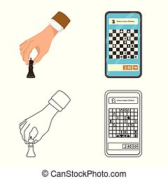 Vector design of checkmate and thin icon. Set of checkmate...