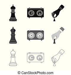 Vector design of checkmate and thin sign. Collection of...