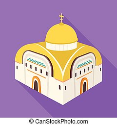 Vector design of church and orthodox sign. Set of church and chapel stock symbol for web.