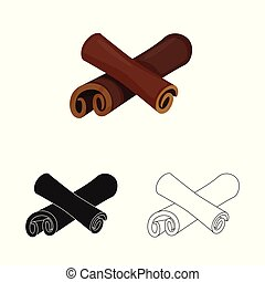 Vector design of cinnamon and stick icon. Set of cinnamon and ingredient stock symbol for web.