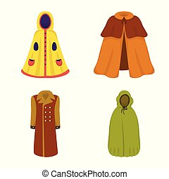 Vector design of cloak and clothes icon. Collection of cloak and garment vector icon for stock.