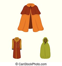 Vector design of cloak and clothes icon. Set of cloak and garment vector icon for stock.