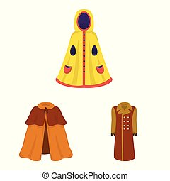 Vector design of cloak and clothes logo. Set of cloak and garment vector icon for stock.