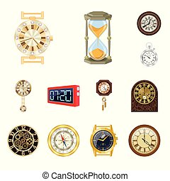 Vector design of clock and time icon. Collection of clock and circle vector icon for stock.