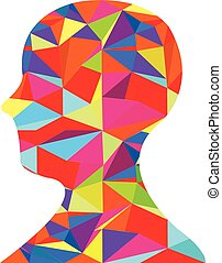 Colorful Human Head Silhouette