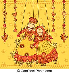 Rajasthani Puppet in Indian art style - Vector design of...