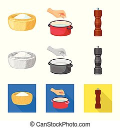Vector design of cooking and sea logo. Collection of cooking and baking stock symbol for web.