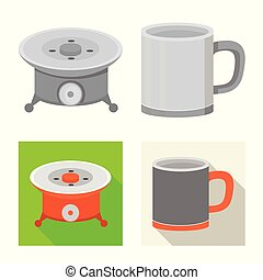 Vector design of cookout and wildlife icon. Collection of cookout and rest stock symbol for web.