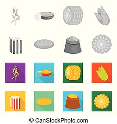 Vector design of cornfield and vegetable logo. Collection of cornfield and vegetarian vector icon for stock.