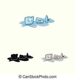 Vector design of cube and ice icon. Set of cube and kitchen stock vector illustration.