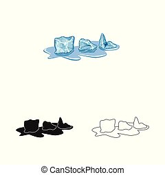 Vector design of cube and ice symbol. Set of cube and kitchen stock vector illustration.