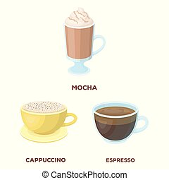 Vector design of cup and coffe symbol. Collection of cup and top vector icon for stock.