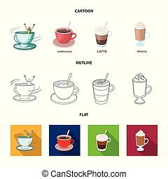 Vector design of cup and coffe symbol. Set of cup and top vector icon for stock.
