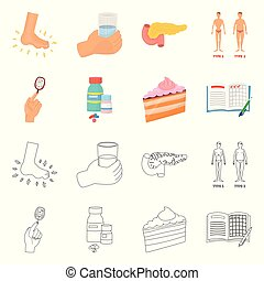 Vector design of diet and treatment logo. Collection of diet...