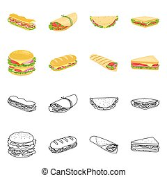 Vector illustration of dinner and cuisine icon. Set of dinner and breakfast stock vector illustration.