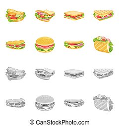 Vector illustration of dinner and cuisine icon. Collection of dinner and breakfast stock vector illustration.