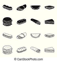 Vector illustration of dinner and cuisine logo. Set of dinner and breakfast stock symbol for web.