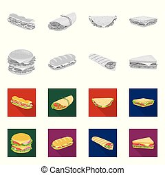 Vector illustration of dinner and cuisine sign. Set of dinner and breakfast stock vector illustration.