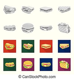 Vector illustration of dinner and cuisine sign. Collection of dinner and breakfast stock symbol for web.