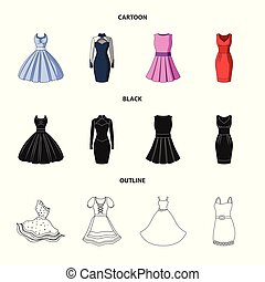 Vector design of dress and clothes icon. Set of dress and evening stock vector illustration.