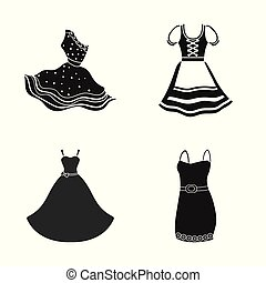Vector design of dress and clothes symbol. Collection of dress and evening vector icon for stock.