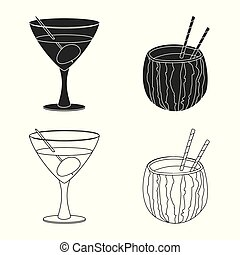 Vector design of drink and bar icon. Set of drink and party stock vector illustration.