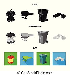 Vector illustration of dump and sort symbol. Set of dump and junk stock vector illustration.