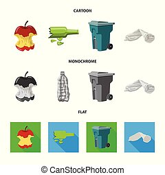 Vector illustration of dump and sort icon. Set of dump and junk vector icon for stock.