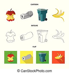 Vector illustration of dump and sort logo. Set of dump and junk stock vector illustration.