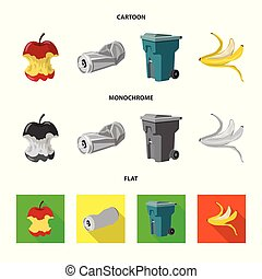 Vector illustration of dump and sort logo. Collection of dump and junk vector icon for stock.
