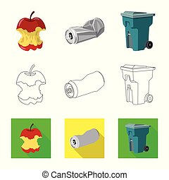 Vector illustration of dump and sort sign. Set of dump and junk stock symbol for web.